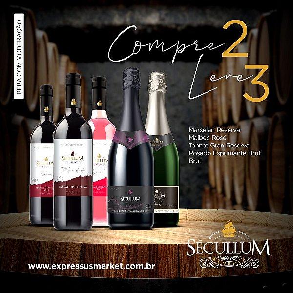 Compre 2 e Leve 3 Vinhos Sécullum Espumante Rosado Brut Tsuru