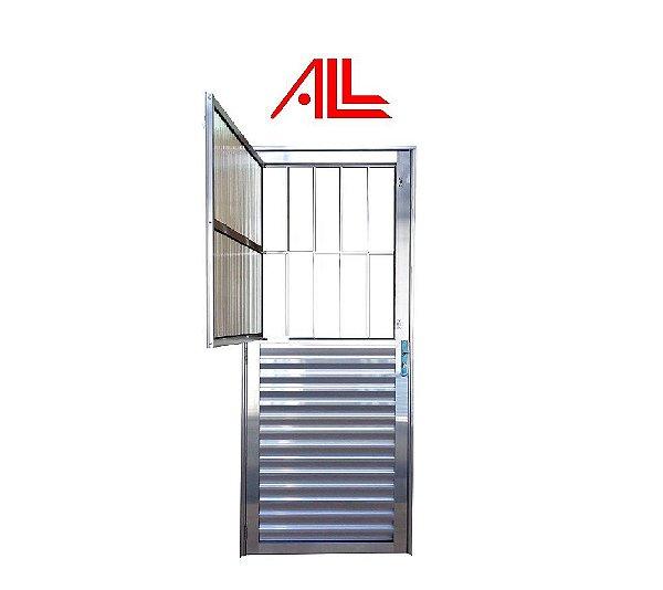 Porta Social 2,10 x 0,80 / Alumínio Brilhante