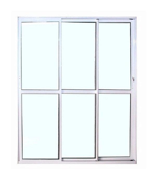 Porta Balcão 3 folhas de Vidro Móveis - Com fechadura - Branco