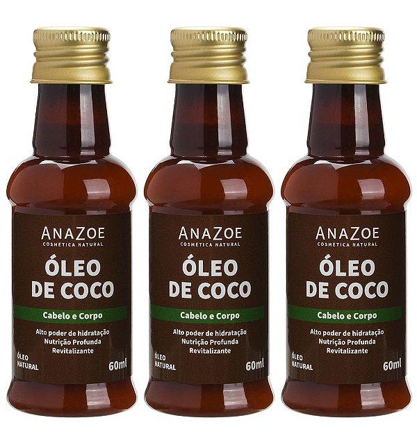Kit Óleo de Coco Cabelo e Corpo 60ml Anazoe 3 Unidades