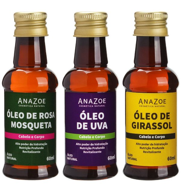 Kit óleos Cabelo e Corpo Cabelos Lisos e Ondulados Anazoe