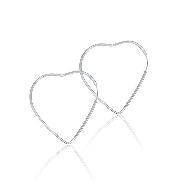 Brinco de Argola Coração Fio 6 cm de Prata Vizaro