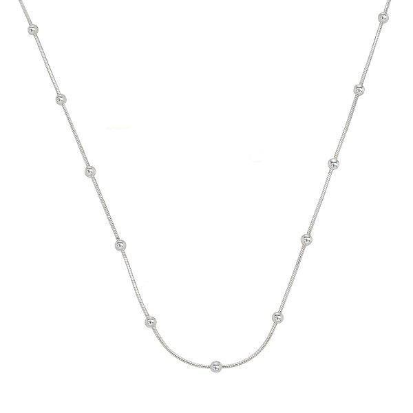 Colar Feminino de Prata Laminada com Bolinha 40 cm Vizaro