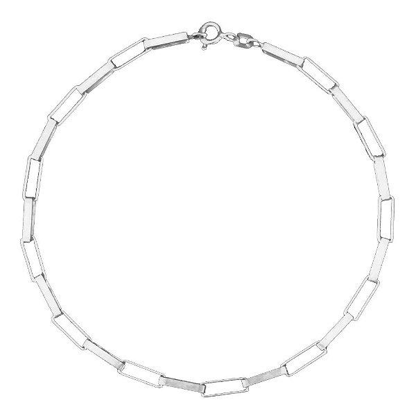 Pulseira Masculina de Prata Cartier Retangular 3mm