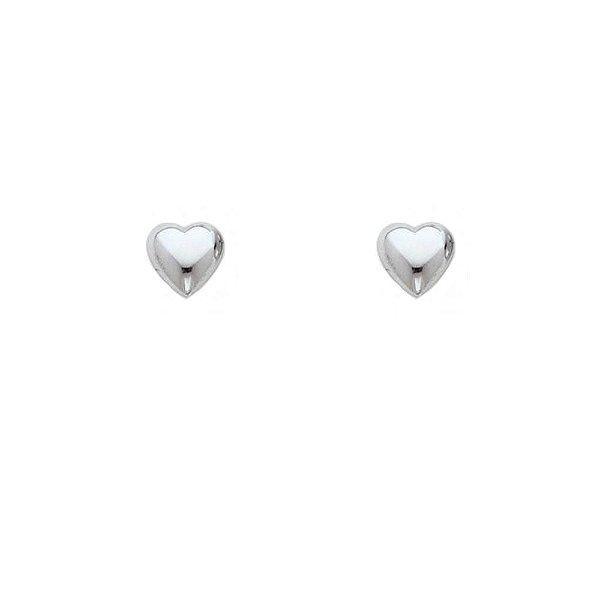 Brinco Coração Liso Pequeno de Prata Vizaro
