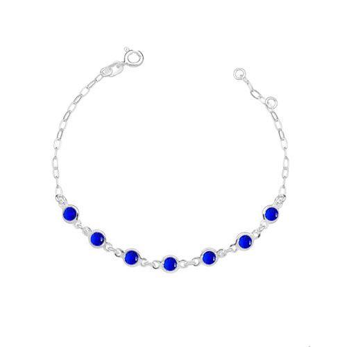 Pulseira 7 Pontos Luz Azul em Prata Vizaro