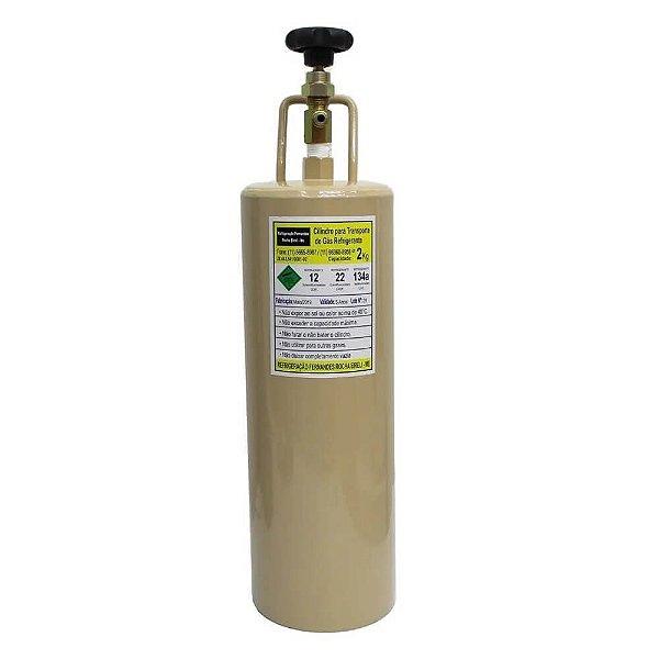 GARRAFA P/ TRANSPORTE DE GAS C/ SEGURANCA E MANOPLA  02 KG.