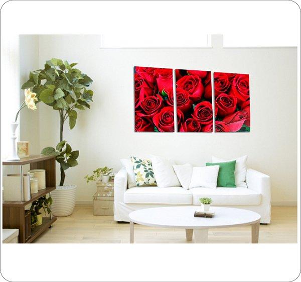 Quadros Decorativos Canvas Rosas Vermelhas  3 peças