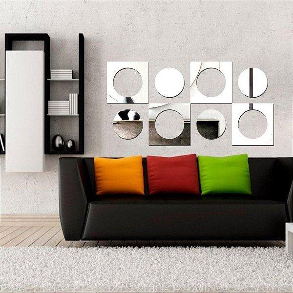 Espelhos Decorativos em Acrílico Quadrados e Círculos Cod. Esp002