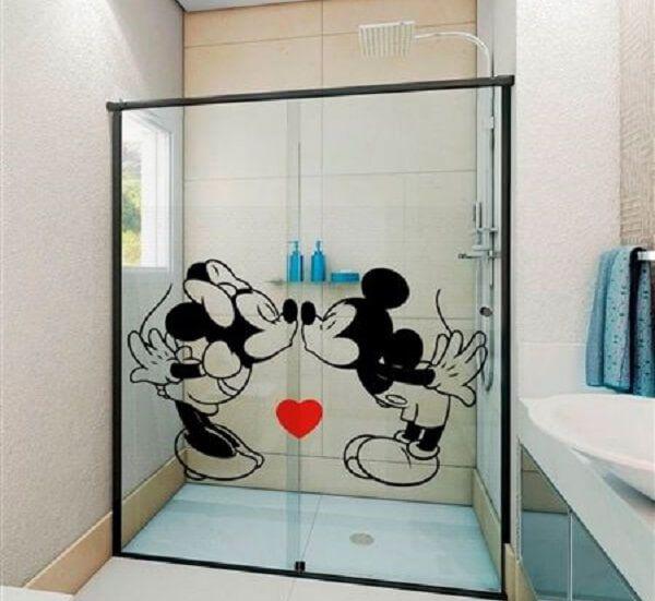 Adesivo para Box de Banheiro Mickey e Minnie Pequeno esp008