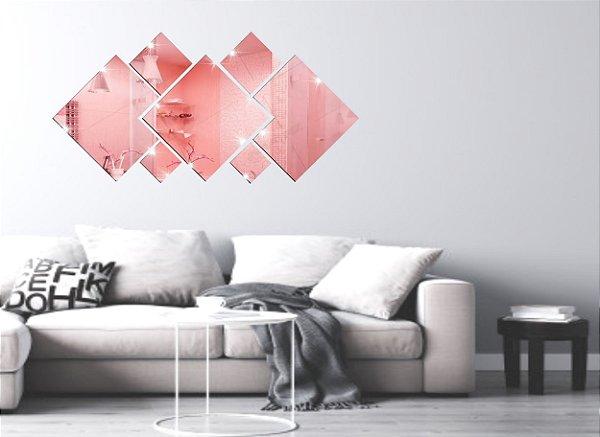 Espelhos Decorativos em Acrílico 7 Peças Quadrado Rose