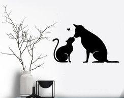 Adesivo de Parede Gato e Cachorro Romântico