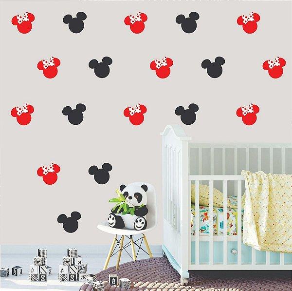 Adesivo de Parede Mini Cabeças Mickey e Minnie