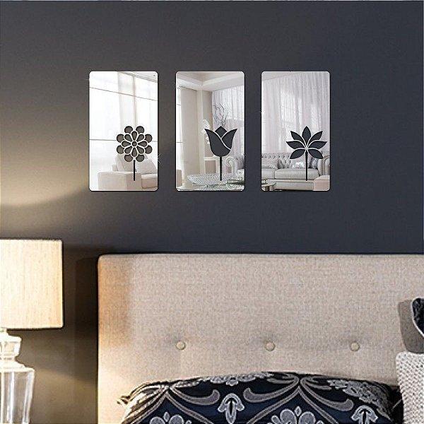 Espelhos Decorativos em Acrílico Quadros 3 Flores