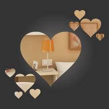 Espelhos Decorativos em Acrílico Kit Corações 9 Peças