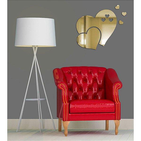 Espelhos Decorativos em Acrílico Coração Dourado Pequeno