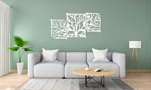 Quadros Decorativos 3 Peças  Árvore em PS Branco 130X68 CM