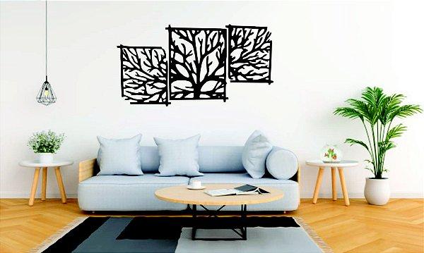 Quadros Decorativos 3 Peças  Árvore em PS Preto 130X68 CM