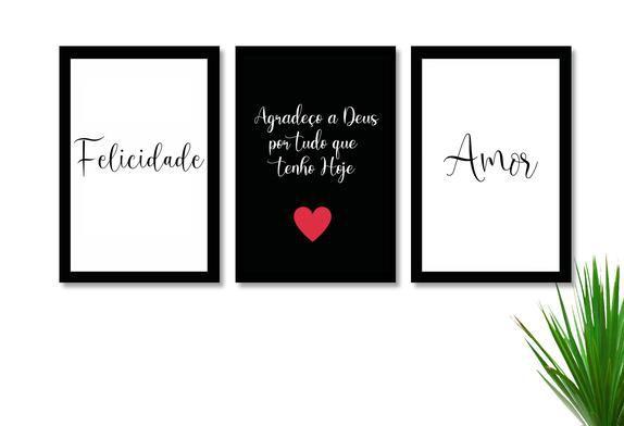 Kit 3 Quadros Decorativos O Amor e Felicidade