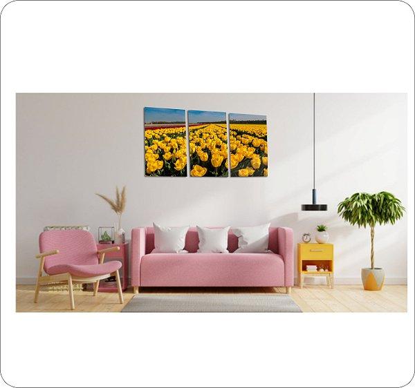 Quadros Decorativos Canvas Tulipas Amarelas 3 peças