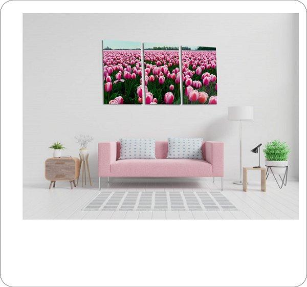 Quadros Decorativos Canvas Tulipas Rose 3 peças