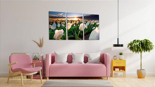 Quadros Decorativos Canvas Tulipas Brancas 3 peças