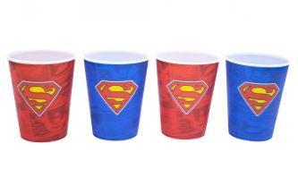 Jogo Com 4 Copos Superman 3D 400ml - Liga Da Justiça
