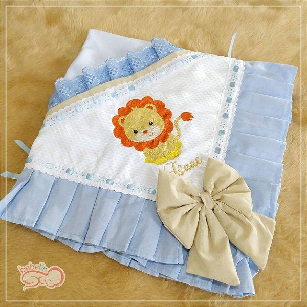 Manta Personalizada Azul Leãozinho
