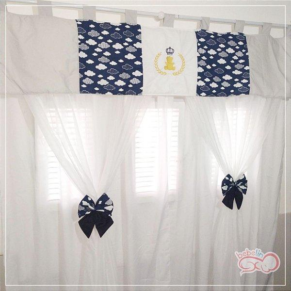 Cortina com Bandô Personalizada Azul Marinho