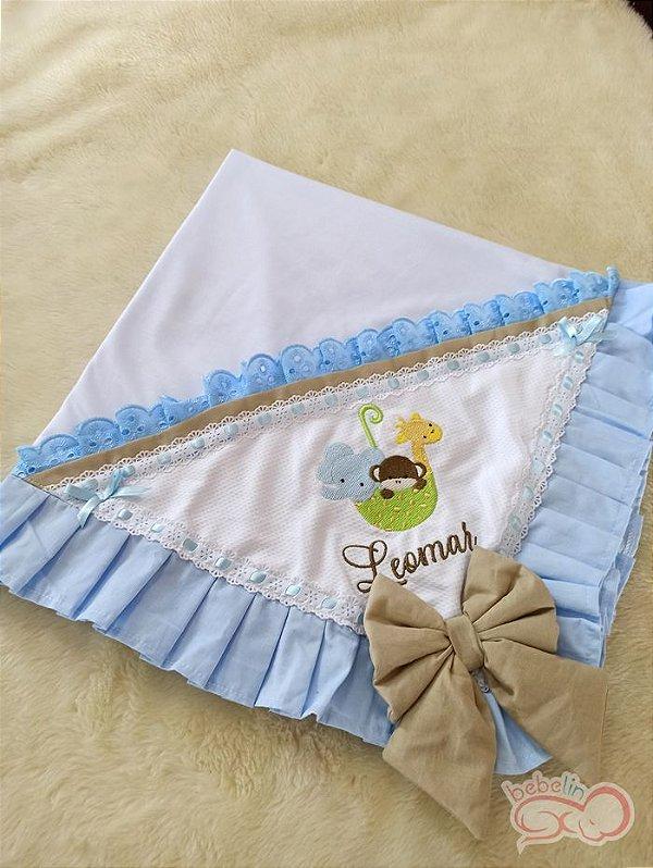 Manta Safári Azul com Caqui Personalizado