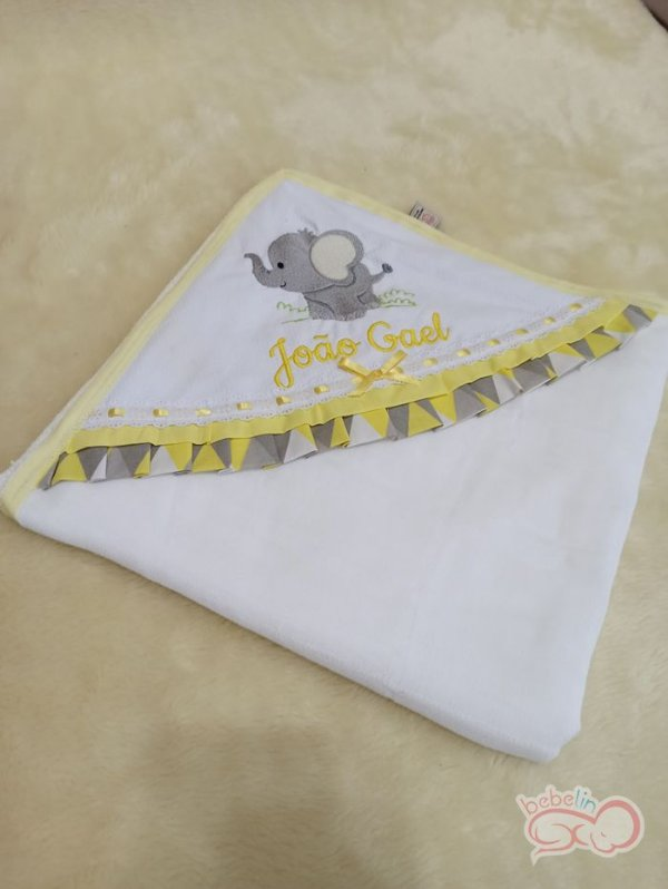 Toalha com Capuz Personalizada Elefantinho