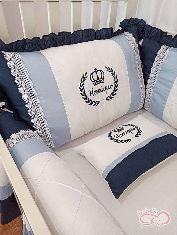 Kit Berço Coroa de Príncipe Azul Marinho Personalizado