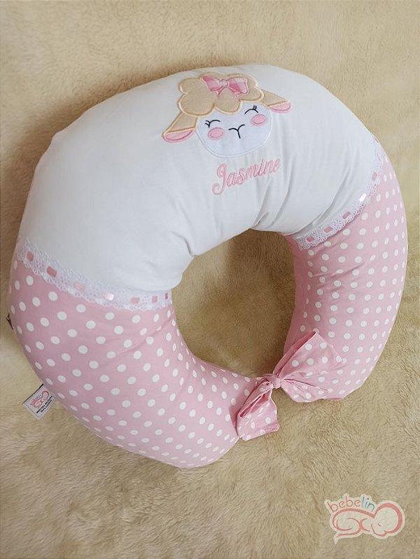 Almofada Amamentação Ovelhinha Rosa com Branco