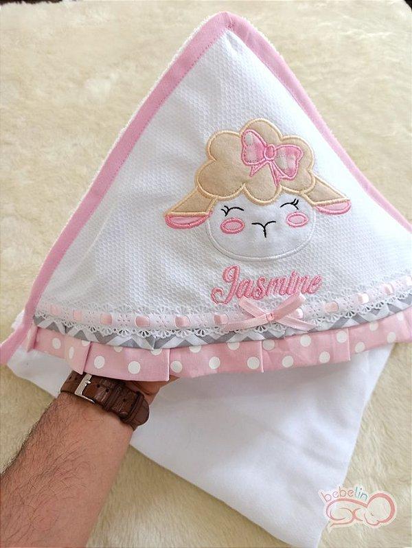 Toalha com Capuz Personalizada Ovelhinha Rosa