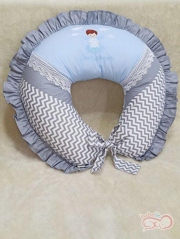 Almofada para Amamentar Anjinho Azul com Cinza