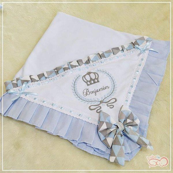 Manta Azul Bebê com Estampa Triangular Azul Bebe Personalizada
