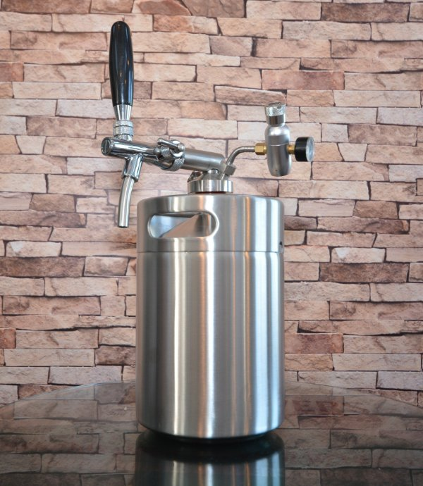 KIT Growler Inox (barril) c Tampa, torneira Italiana e reguladora CO2