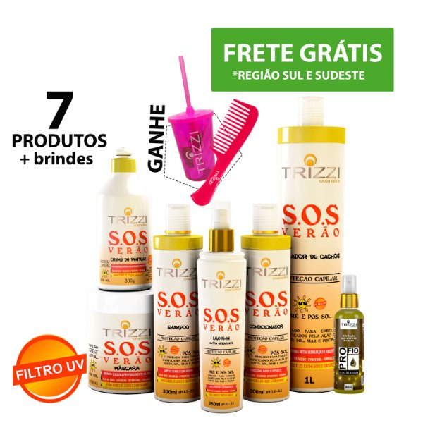 Kit SOS Verão Trizzi - Shampoo 300ml - Condicionador 300ml - Máscara 500g - Creme de Pentear 300ml - Ativador 1L - Leave 250ml - oleo de argan Pro Fio 60ml