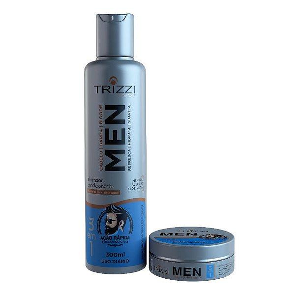 Kit 3 em 1 Cabelo e Barba Trizzi Shampoo 300ml + Pomada Modeladora 120gr
