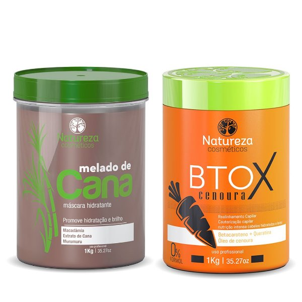 KIT MÁSCARA MELADO DE CANA 1kg + BTOX DE CENOURA 1kg -  NATUREZA COSMÉTICOS