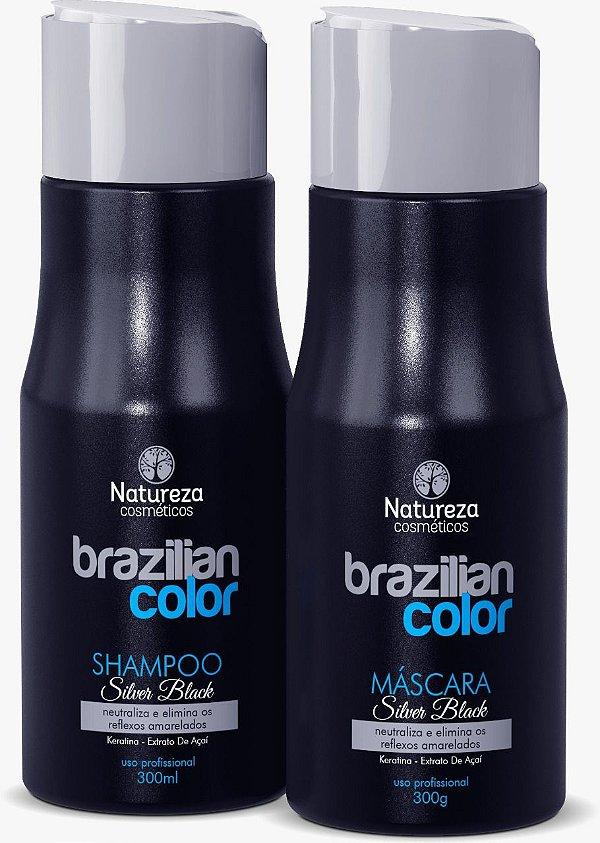 SHAMPOO E MÁSCARA MATIZADORA SILVER BLACK NATUREZA