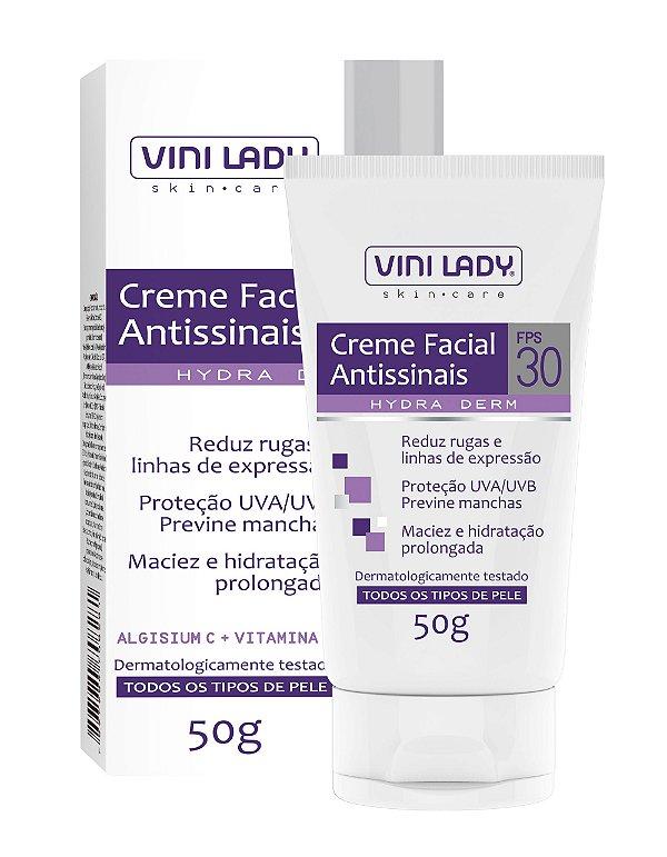 Creme Facial Antissinais FPS 30 - Redutor de Rugas e Linhas de Expressão 50g