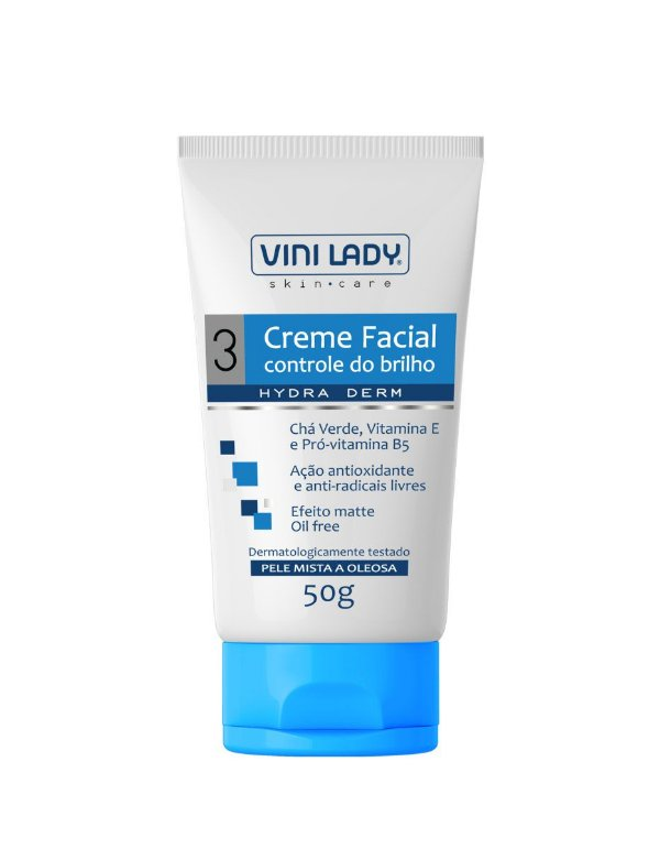 Creme Facial Controle do Brilho Efeito Matte com Chá Verde, Vitamina E e Pró Vitamina B5 - Pele Mista a Oleosa 50g