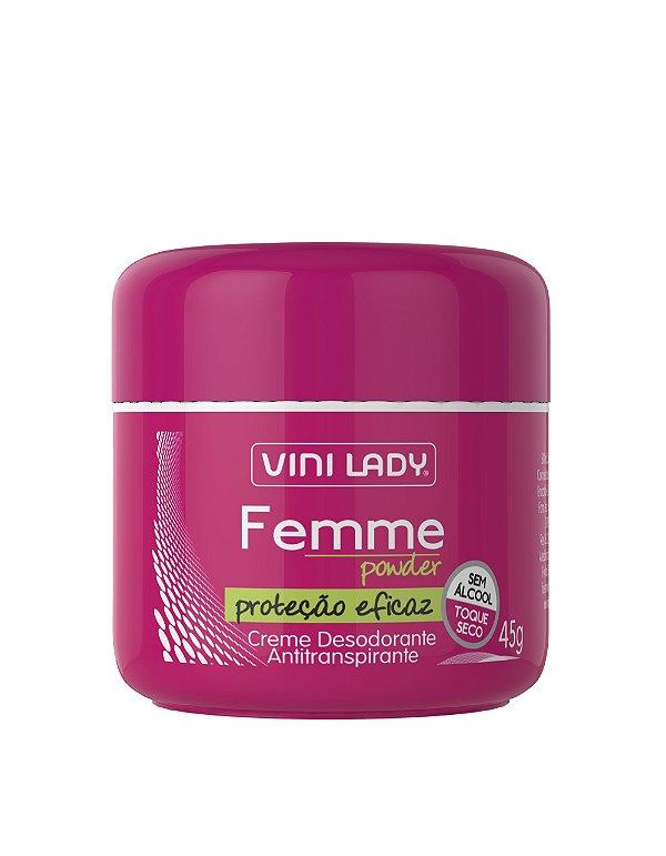 Creme Desodorante Antitranspirante Femme Powder, sem álcool, toque seco 45g