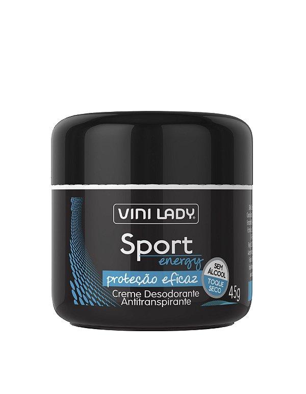 Creme Desodorante Antitranspirante Sport Energy, sem álcool, toque seco 45g