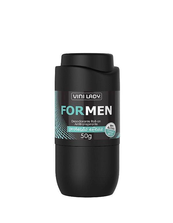 Desodorante Roll On Antitranspirante For men, sem álcool, toque seco 50gr