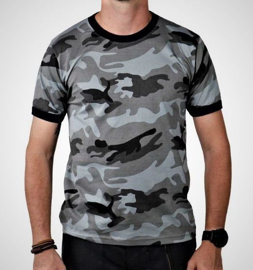 Camiseta Camuflada Urbano Cinza
