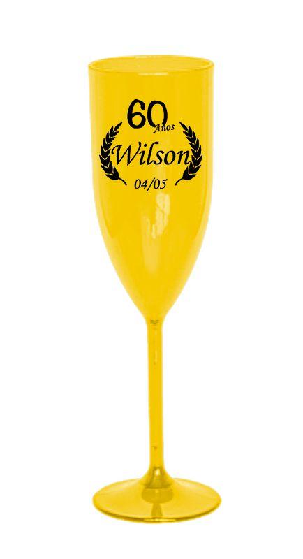 Taça de Acrílico Amarela Personalizada