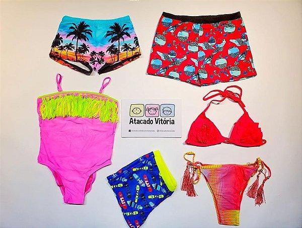 ◼ Kit Praia Summer (biquínis) - Composto por: 20 peças, Grade: 04 ao maior, Sendo: Sungas, Biquínis e Maiôs.