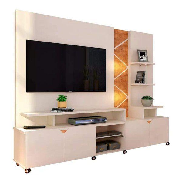 Estante Home com LED para TV até 55 Polegadas Cross Off White Lukaliam